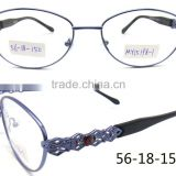 New fashion full rim purple with diamond stone metal wholesale eyeglasses frames for lady                                                                         Quality Choice