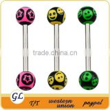 Wholesale New Hot Charm 14G 316L Surgical Stainless Steel industrial barbell tongue piercing