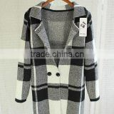 New Arrival Fashion Knit Loose Wool Coat, Latest Autumn women clothing knitted ladies big houndstooth coat