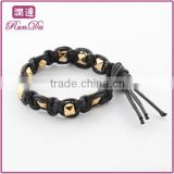 alibaba china rose gold plated stainless steel bead black wax cotton bracelet