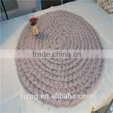 Chunky knitted Merino wool throw blanket round thick rug