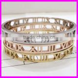 GZKJL-BL0402 Hot Sale Hollow Roman numerals Gold Plated 316L Stainless Steel Bangle Bracelets For Women Gift