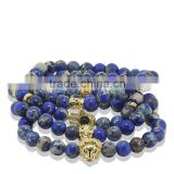 KJL-ST0024 real 24K gold 8mm Blue Sea Sediment Stone Bead with Bronze Gold&Silver CZ zircon skull head Bracelet