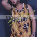 High fashion luxury basketball jersey/ newest leoperd printed all over basketball jersey
