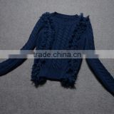 Wholesales Sweater Design Woman Latest Fashion Navy Blue Knitted Sweater With Long Sleeve