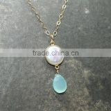 falak gems Aqua Chalcedony Necklace, Coin Pearl Bezel Stone Gold plated Pearl Gemstone Necklace