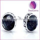 Top quality new design products 925 sterling silver round black agate facted stud earring sold by pairs