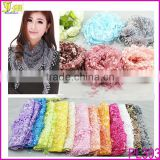 2014 Latest Fashion Design Lace Tassel Sheer Burnt-out Floral Print Triangle Scarf Shawl Neck Wrap