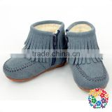Dark Gray Leather Baby Kids Winter Shoes Baby Snow Boots