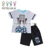 2016 China Petelulu Fashion Cat Printing Kids Pajamas Sets Stocks Comfy 2 Piece PJ Set Sleepwear Short Sleeve Cotton Nightgowns