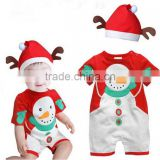 2016 Foreign children clothing Christmas Santa claus baby rompers Christmas deer clothing
