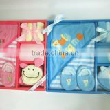 baby bath clothing gift set/hooded/slipper/bib/washcloth/wash mitten