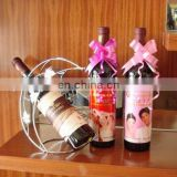 hot sale pink elastic pre tied bow for wine bottle