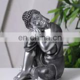 little resin silver sitting and sleeping buddha statue for desk decoration