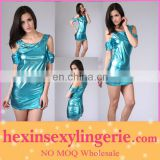 2013 Fashion designer shiny leather dress women