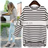 Korean style stripe cotton T shirt round neck short front long back women blouse autumn casual yarn T-shirt for ladies