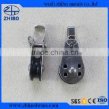Alibaba express stainless steel pulley block with bracket and pin rivet nylon sheave