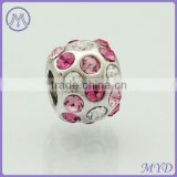 925 sterling silver CZ crystal ball bead for European charms bracelet