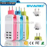 2016 New OEM high quality factory 6 port usb charger for iphone 7 US EU UK AU plug charger with multi USB wall charger