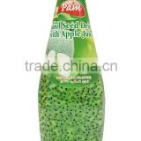 Basil Seed Drink with Apple Juice in Glass Bottle