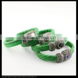 LFD-B0033 Green Color Snake Leather with Rhinestone Paved Stone Magnetic Clasp Snakeskin Bangles , Cuff Bangle Bracelet