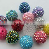 Jewerly 2014 Newest bulk Colorful Resin Rhinestone Ball beads for Chunky Kids Necklace Jewelry