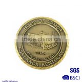 Embossed custom made brass coins Stamping imitation gold map of the world badge gold-plated metal coin