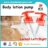 High quality factory sale plastic screw lotion pump shampoo plastic lotion pump output 2.0cc with left and right structure
