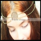 Chain Headpiece Headband Hair Piece Bohemian Boho Bronze Floral Circle Centerpiece Double Drape Bridal Jewelry                                                                         Quality Choice