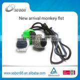Retractable multi-purpose key chain monkey fist knot
