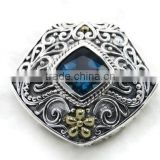 925 sterling silver indian handcrafted London Blue Topaz gemstone slide pendant with 18k gold accents
