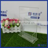 High Quality Customized Acrylic Menu Display Stands / Acrylic 5x7 Sign Holder with Business Card