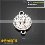 YP2831 European and American trade jewelry fashion jewelry imitation coin heads up and down hole connector alloy jewelry accesso