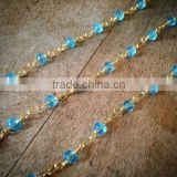 Aqua Glass Bead Chain Faceted 4mm Blue Beads on GOLD plated 1mm Wire Hand Made Necklace Chain Glass Fixed Bead Chain Jewelry