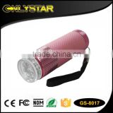 Onlystar GS-8017 promotional 9led waterproof flashlight 3*aaa dry battery aluminum led pocket torch