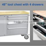 Stainless steel tool chest with drawer and side cabinet
