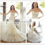 Elegant strapless sweetheart neckline ayered skirt mermaid tail wedding dress lace bridal gown DM-014 Bridal dress