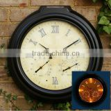 Solar LED Outdoor plastic wall clock with humidity&temperature SO6200