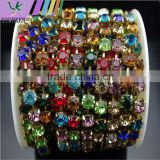 3 FEET 1 Yard SS40 8mm Neon/Rainbow Crystal Rhinestone Brass Chain Trims Cup Chain Wedding Garments Decoration YSCHC1016
