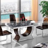 Hot Sale Dining Room Furniture Glass Top Stainless Steel Leg Dining Table Set Marble Dining Table