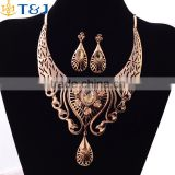 African exaggerate beautiful chandilier shaped hollow jewelry set golden crystal jewelry set bridal wedding accessories