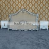 Rococo furniture ivory and silver bed antique popular bedroom furniture solid wood white&silver double bed