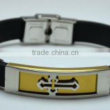 Hot Sale Mens Leather Christian Bracelets Gold Plated Steel Hollow Silver Cross Wrapped Religion Bangles For Men