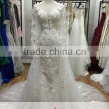 AR-30 Latest Dress Designs Elegant Bride Dress Long 3D Appliques Crystal Beaded Tulle Long Sleeve Lace Wedding Dress 2016