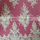 Unique Flower Design Textile French Lace Fabric Latest Cupion Lace Embroidery Cord Lace Fabric For Nigerian Wedding