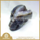 semi precious fashion amethyst skull carving with geode good for art collection or Christmas gift
