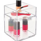 "Clarity Cosmetic Organizer for Vanity Cabinet to Hold Makeup, Beauty Products - Set of 2, 4"" x 4"" x 6"", Clear(MK-B-0207)"