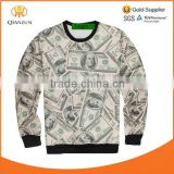 Newest Unisex Jumper Printed Money Blouse Long Sleeve Hoodies Sweater Mens Womens 3D U.S. Dollar Print Pullover Tops Shirt