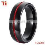 red line enamel black tungsten ring for ring
