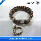 2015 hot sell paracord bracelet wiht stainless steel shackle or buckle